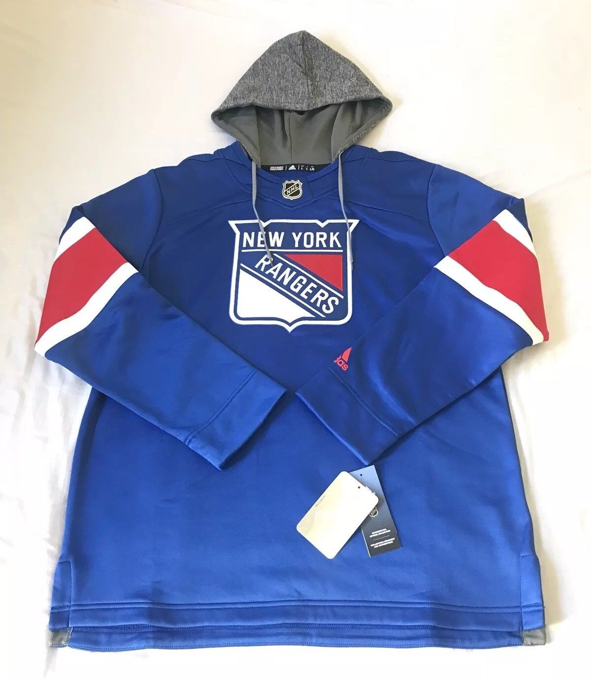 Adidas New York Rangers Jersey Replica Hoodie NHL Fleece Pullover Hood Large