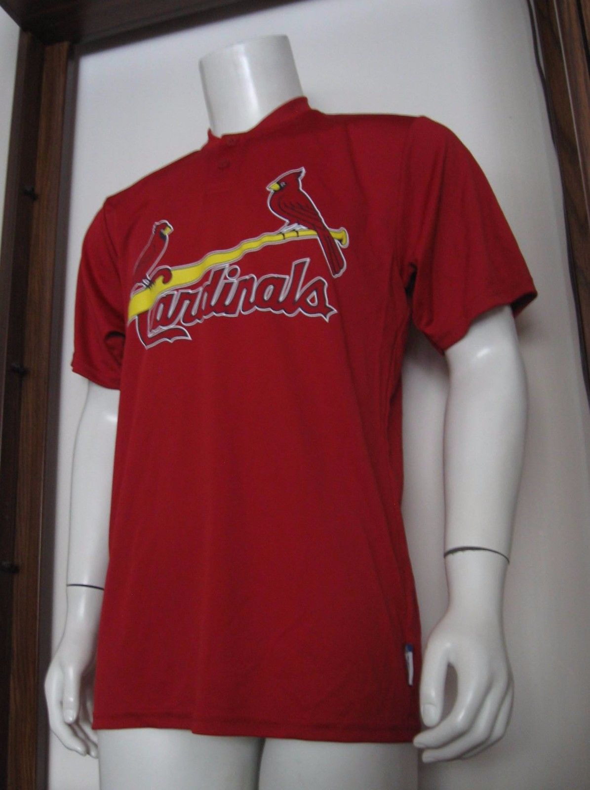 M Mens Majestic Cool Base St. Louis Cardinals MLB Baseball Jersey Shirt Red EUC