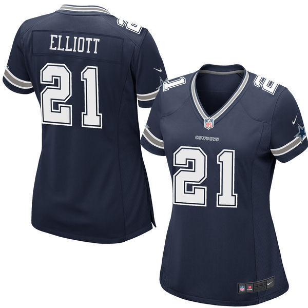 NFL Dallas Cowboys Ezekiel Elliott #21 Nike Women's Replica Jersey - Navy Blue