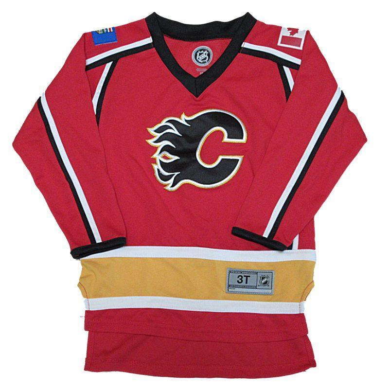 New NHL Official NHL Calgary Flames Toddler Boys Hockey Jersey Size 3T
