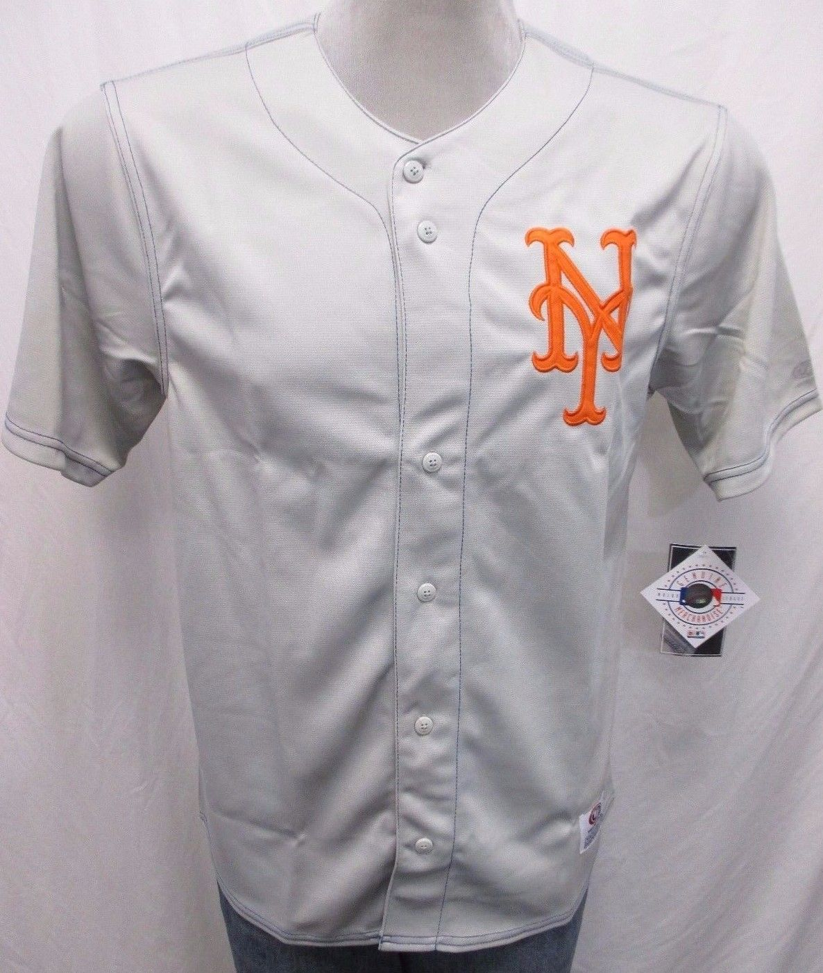 New York Mets Men M, L, XL, 2XL Button-Up Embroidered Jersey MLB Gray A13
