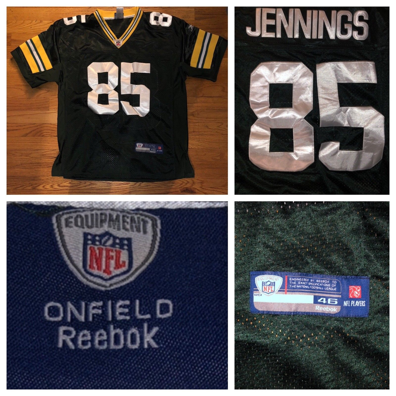 Reebok On Field Greg Jennings Green Bay Packers NFL Sewn Men's Jersey Size 46