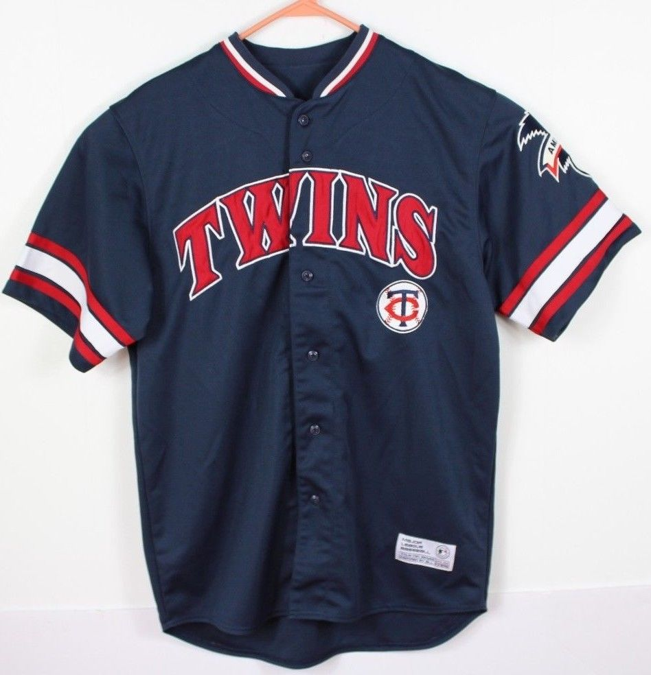 TRUE FAN MINNESOTA TWINS MAUER Men's M Blue Embroidered Baseball Jersey MLB AL